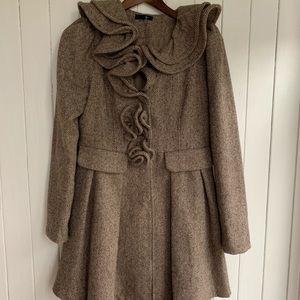 Ruffle Tweed Coat